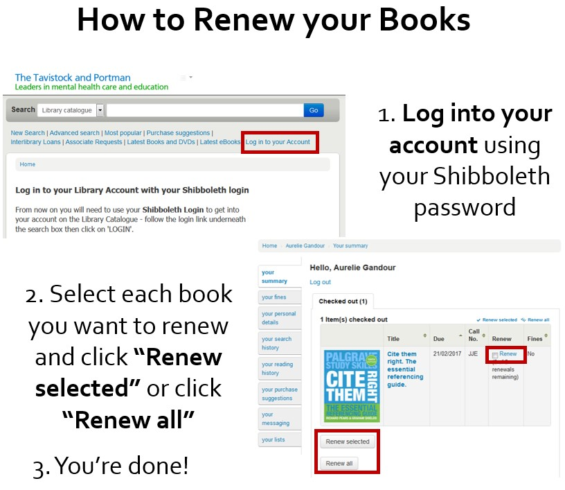 How to renew books