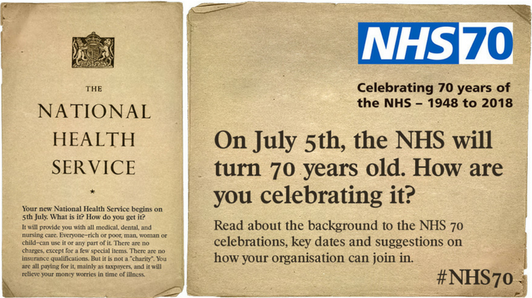 NHS 70 promotion showing archive document about the National Health Service