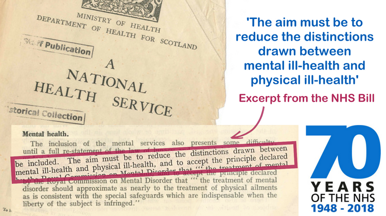 NHS document highlighting text 'The aim must be to reduce the distinctions drawn between mental ill-health and physical ill-health'