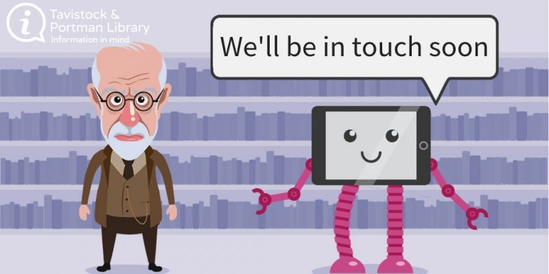 Illustration of Sigmund Freud with message we'll be in touch soon