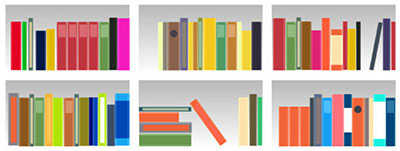 Illustration of book shelves
