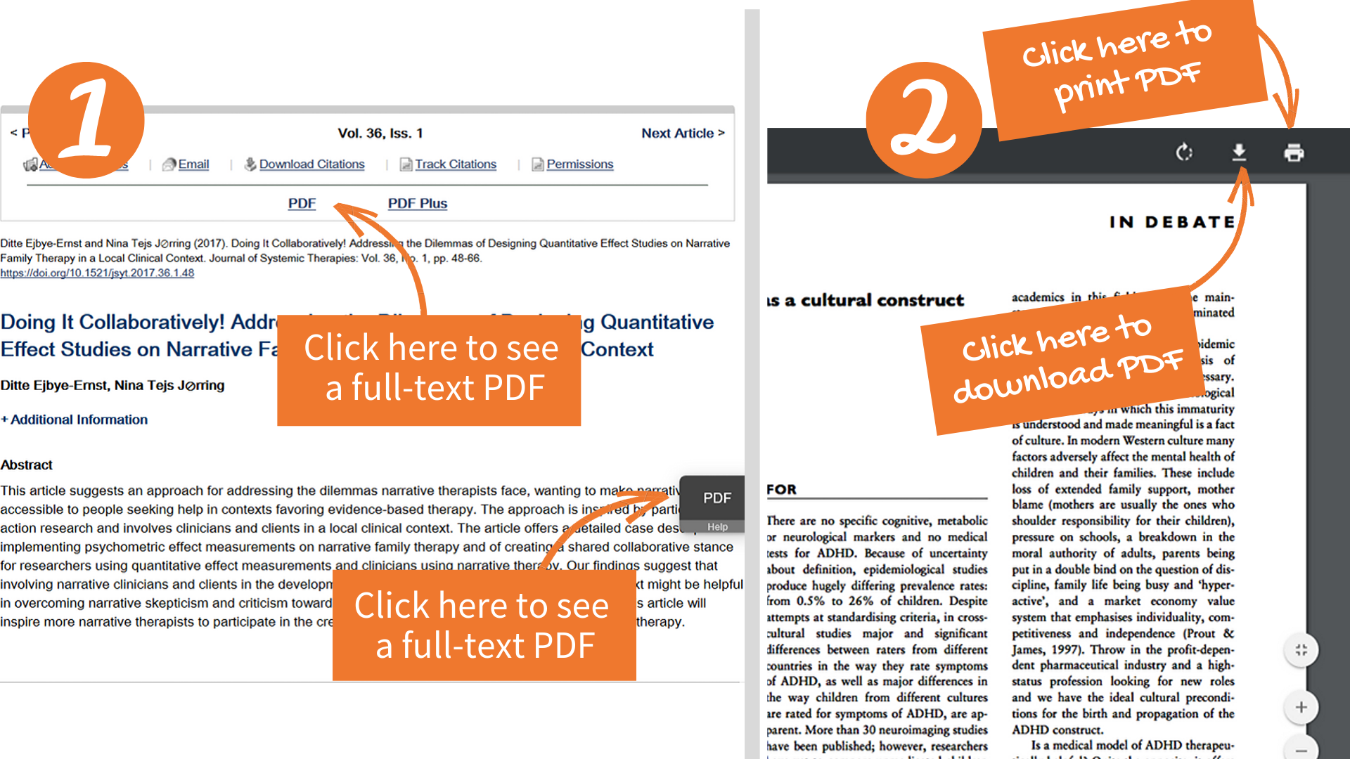 How to download and print PDFs with Guilford Press journals