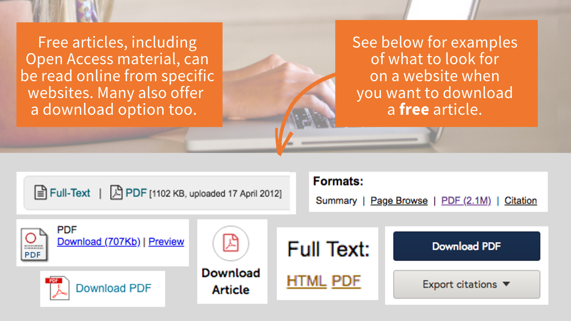 Examples of logos to indicate a PDF can be downloaded