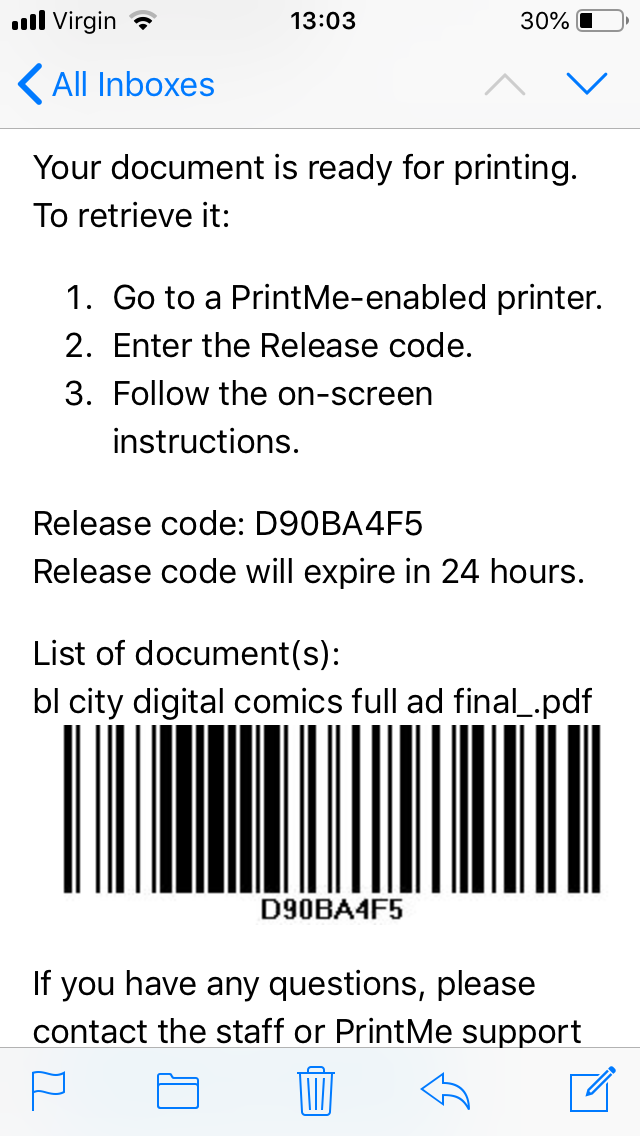 Print Me app mobile screen with barcode
