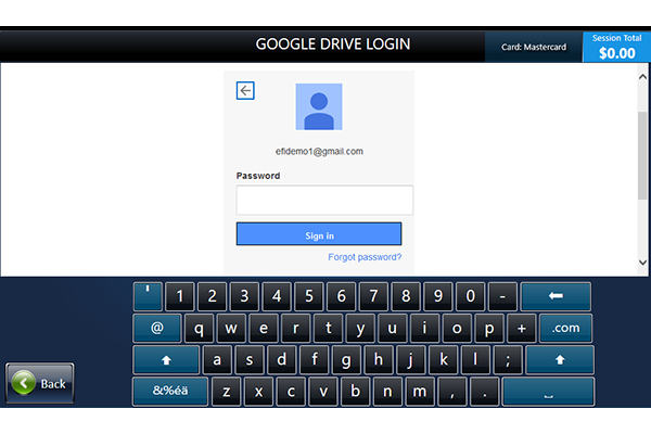Google Drive login screen with keypad