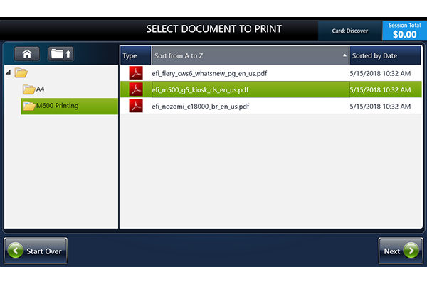 Select a PDF to print from cloud services
