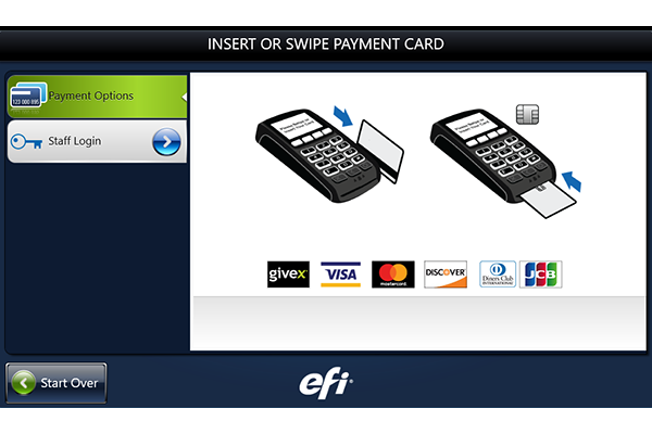Screen showing where to swipe payment card