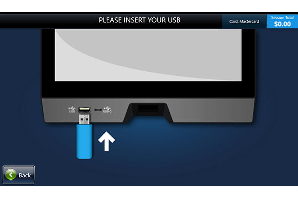 Screen showing where to insert USB for printing