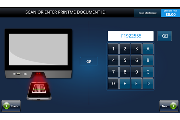 Screen showing keypad for retrieving printing