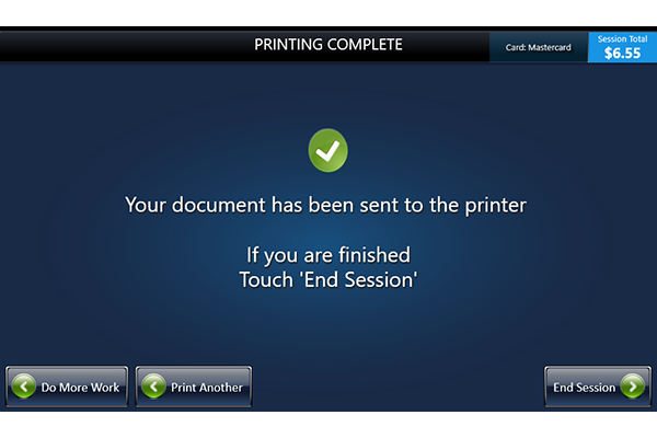 Confirmation screen for document sent to printer
