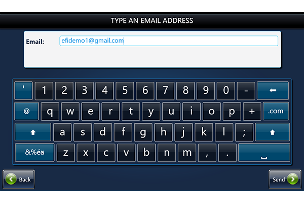 Keypad for typing in email address