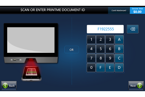 Retrieve document screen with keypad for code