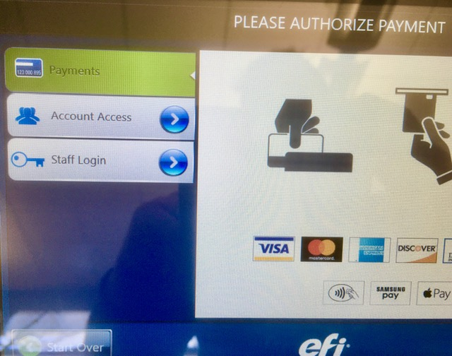 Screen showing options for payment or account access