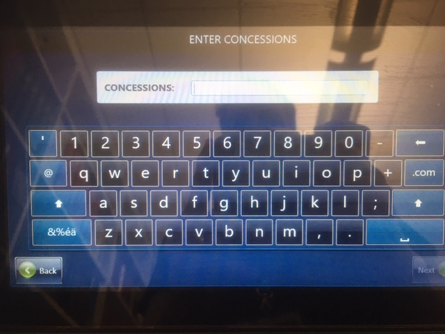 Screen with keyboard to enter username for concessions