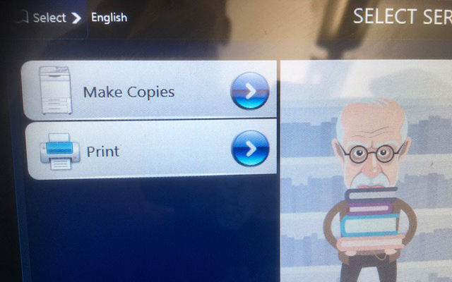 Screen with option to choose to make copies or print
