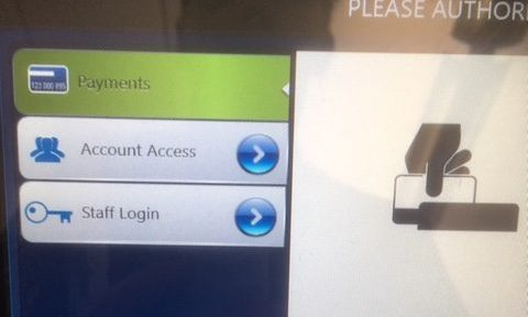 Screen showing printing options for payment or account access
